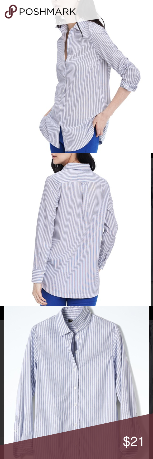 6cf99198646 BR Blue Parker-fit Stripe Boyfriend Tunic NWT A relaxed-fit shirt with a