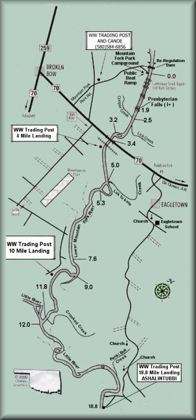 Lower Mountain Fork River map courtesy Ocean-Graphics ...