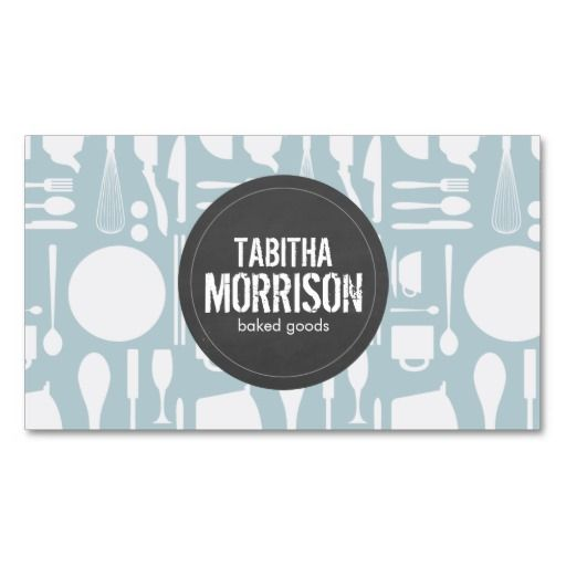 Blue Kitchen Collage with Rustic Gray Logo Bakery Business Card - baker pastry chef sample resume