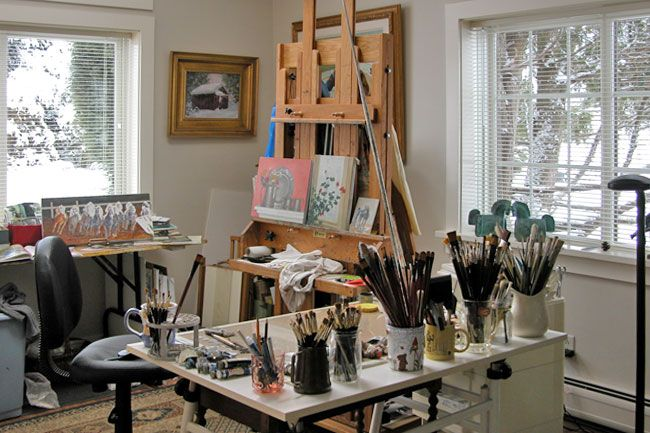 Painting Set Up Is Practical With Drafting Desk To Side Of Easel And Flanked By Table With Brushes In Jars Ready Art Studio At Home Art Studios Painting Studio