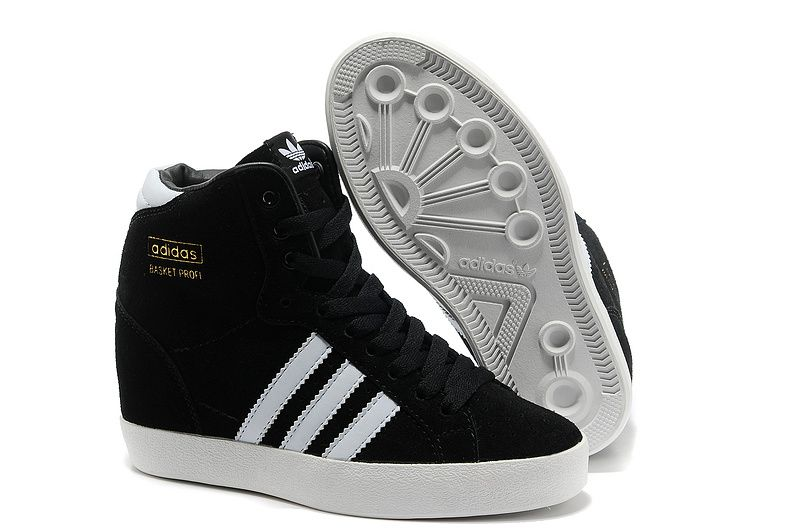 adidas wedge sneakers black and white