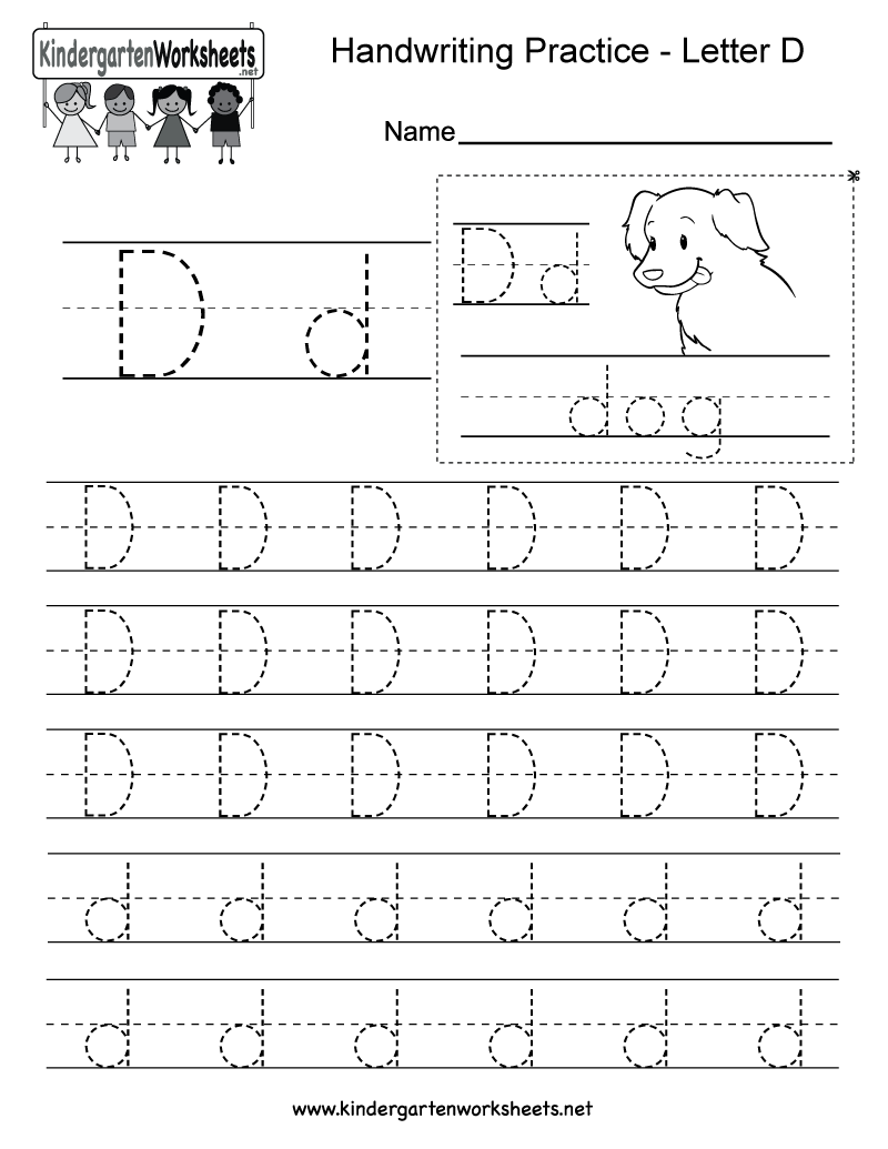 Letter D Writing Practice Worksheet This Series Of Handwriting