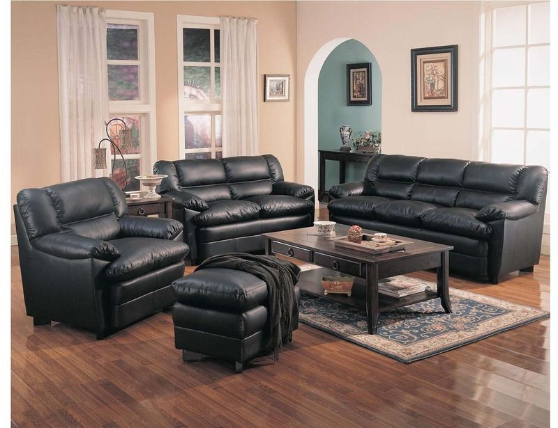 Coaster Casual Black Leather Sofa Couch Loveseat Arm Chair Pillow Top