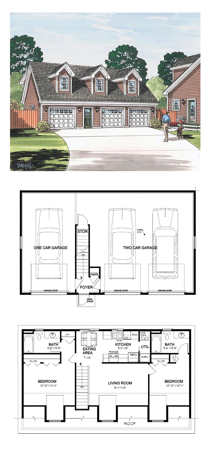 Saltbox Style 3 Car Garage Apartment Plan Number 30032 with ...