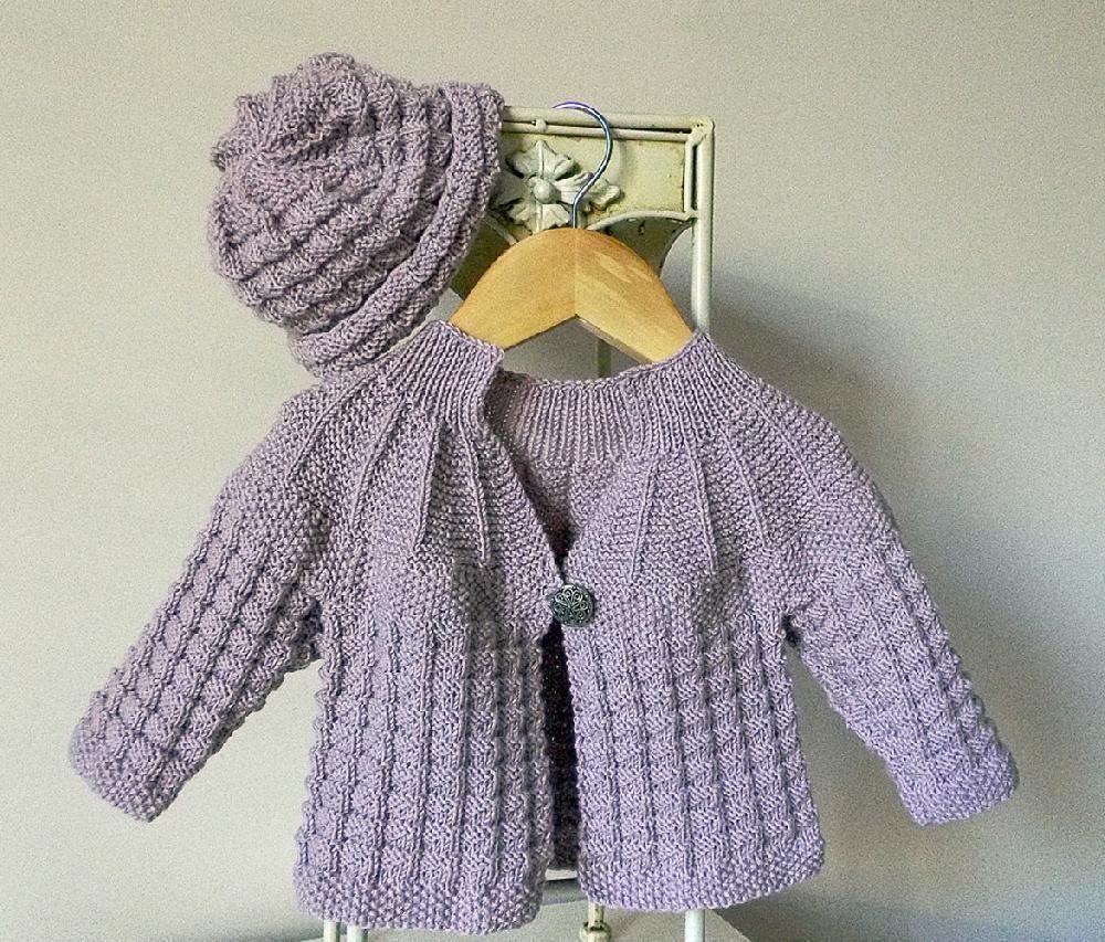 Textured round yoke baby sweater with matching hat baby sweaters textured round yoke baby sweater with matching hat bankloansurffo Images