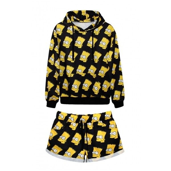 Laid Back Simpson Print Hoodie with Shorts (71 CAD) ❤ liked on Polyvore featuring outfits, pajamas, shirts, tops and sleep