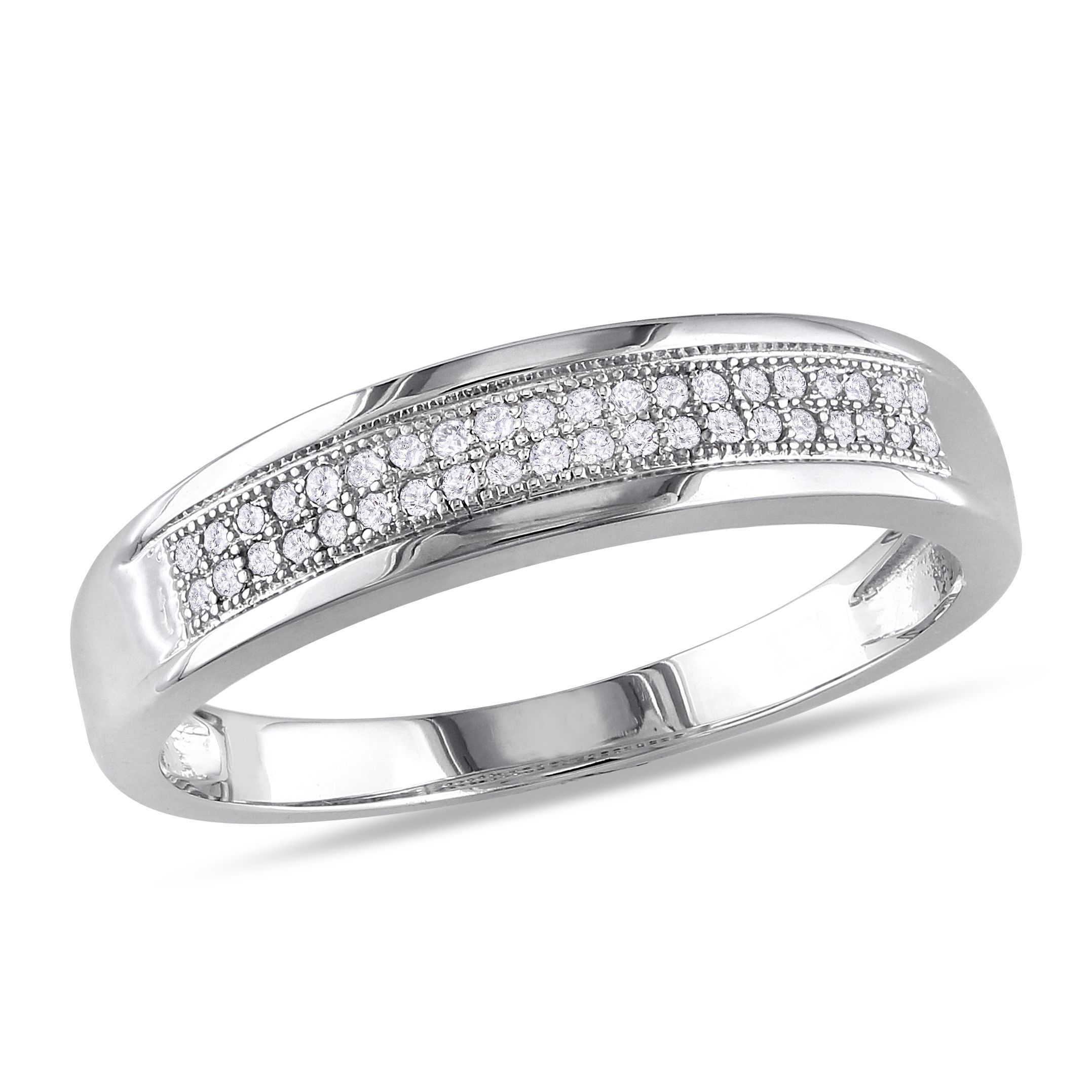 Miadora signature collection 14k white gold 1ct tdw diamond double row - Miadora 10k White Gold 1 8ct Tdw Double Row Diamond Wedding Band G H