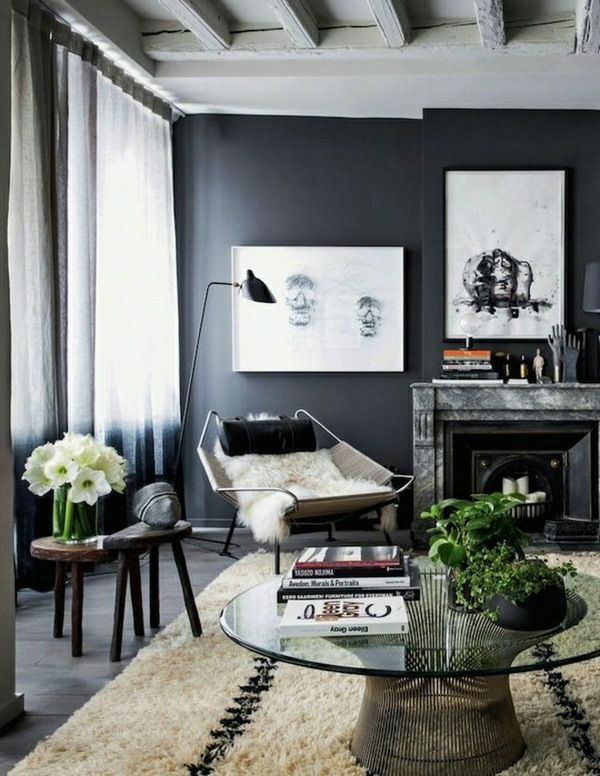 The Gray Wall Color Interior Ideas Living Room Grey Interior House Interior