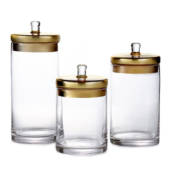 Style Setter  Soho Glass Canisters With Gold Or Silver Lids Set Pleasing Glass Kitchen Containers 2018