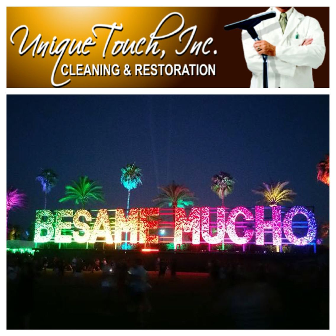 "Coachella's ""besame mucho"" art sign #coachella2016 #besamemucho #Uniquetouchinc"