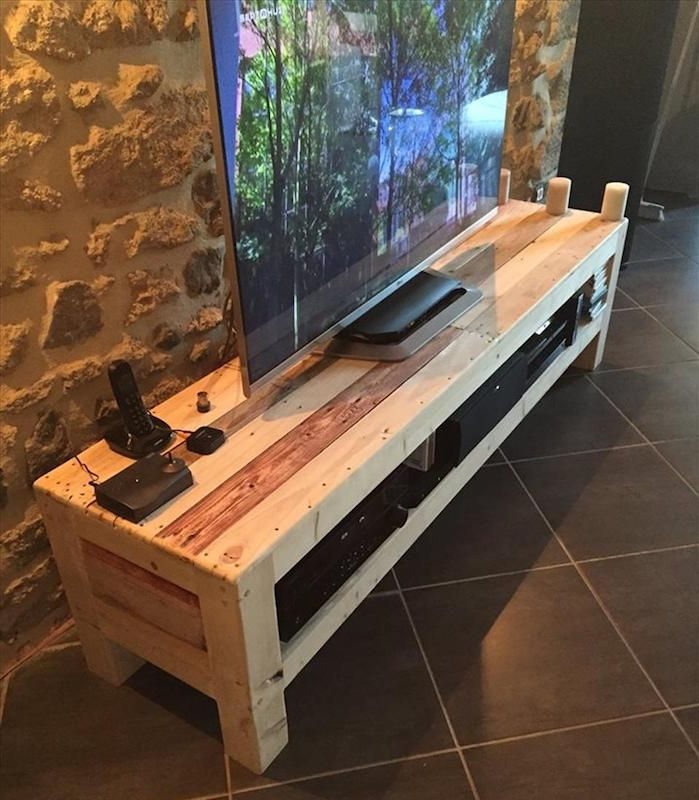 meuble tv palette le recyclage en cha ne pinterest meuble tv palette tv palette et le. Black Bedroom Furniture Sets. Home Design Ideas