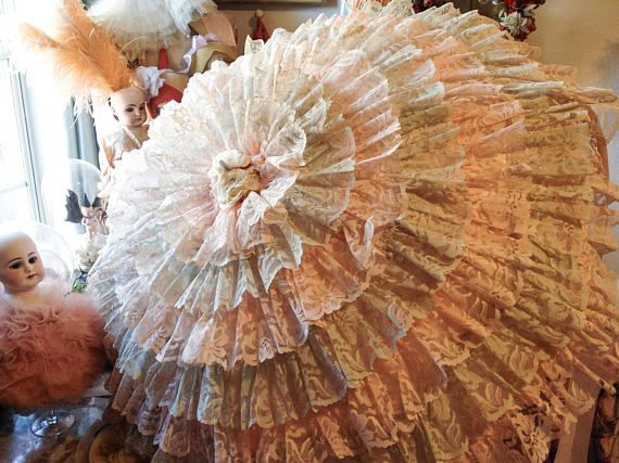 Vintage lace parasol ruffly pink victorian style umbrella ...