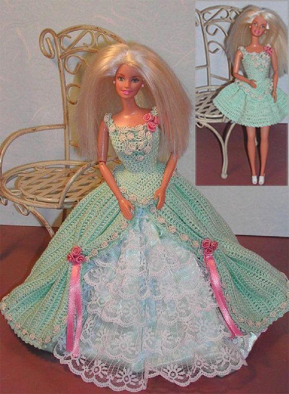 Crochet Fashion Doll Barbie Pattern- #212 CHANGEABLE IN GREEN ...