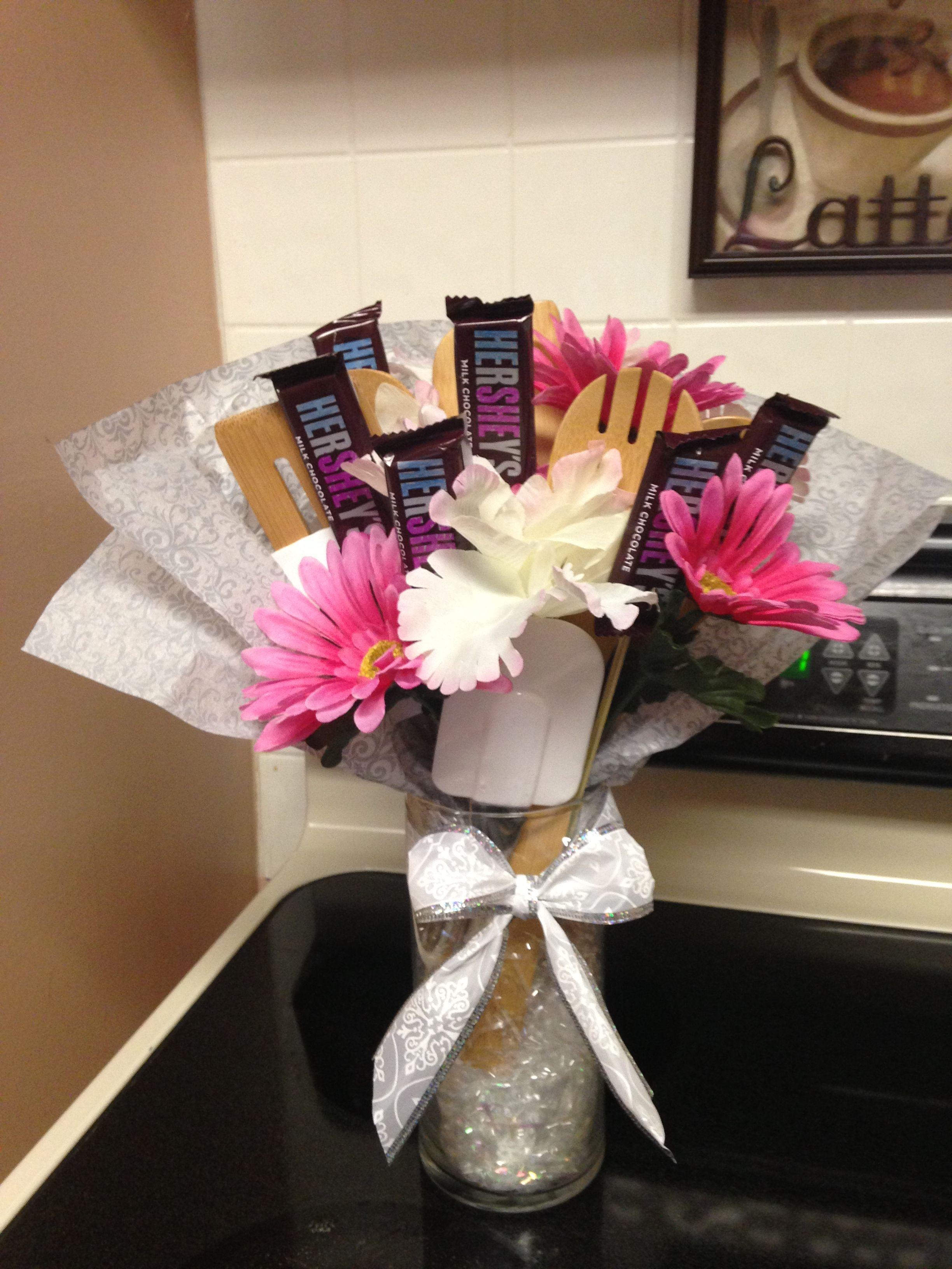 Bridal shower kitchen utensil bouquet.