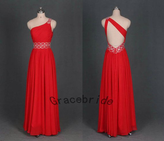 red chiffon dresses bridesmaid dress long prom dresses custom homecoming dress one shoulder cheap holiday dresses for party wedding dresses on Etsy, $128.00