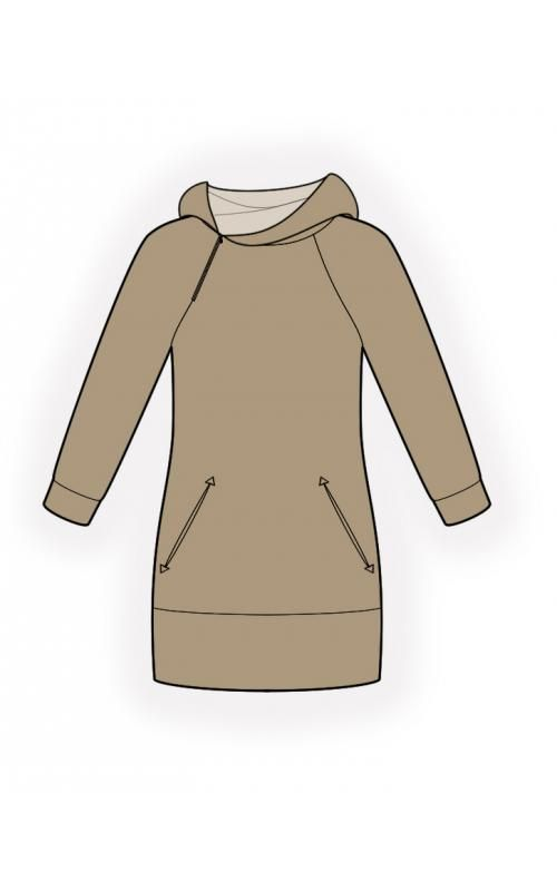 Hooded Tunic - Sewing Pattern #4587 Made-to-measure sewing pattern ...