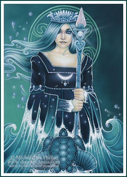 Tarot Queen Of Water :: Artist Ravynne Michele Phelan