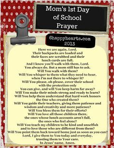 A Parent Prayer For The First Day Of School Max School Prayer