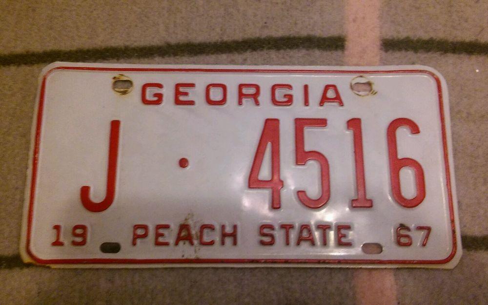Vintage 1967 Georgia License Plate Garage Old Car Tag Peach State ...
