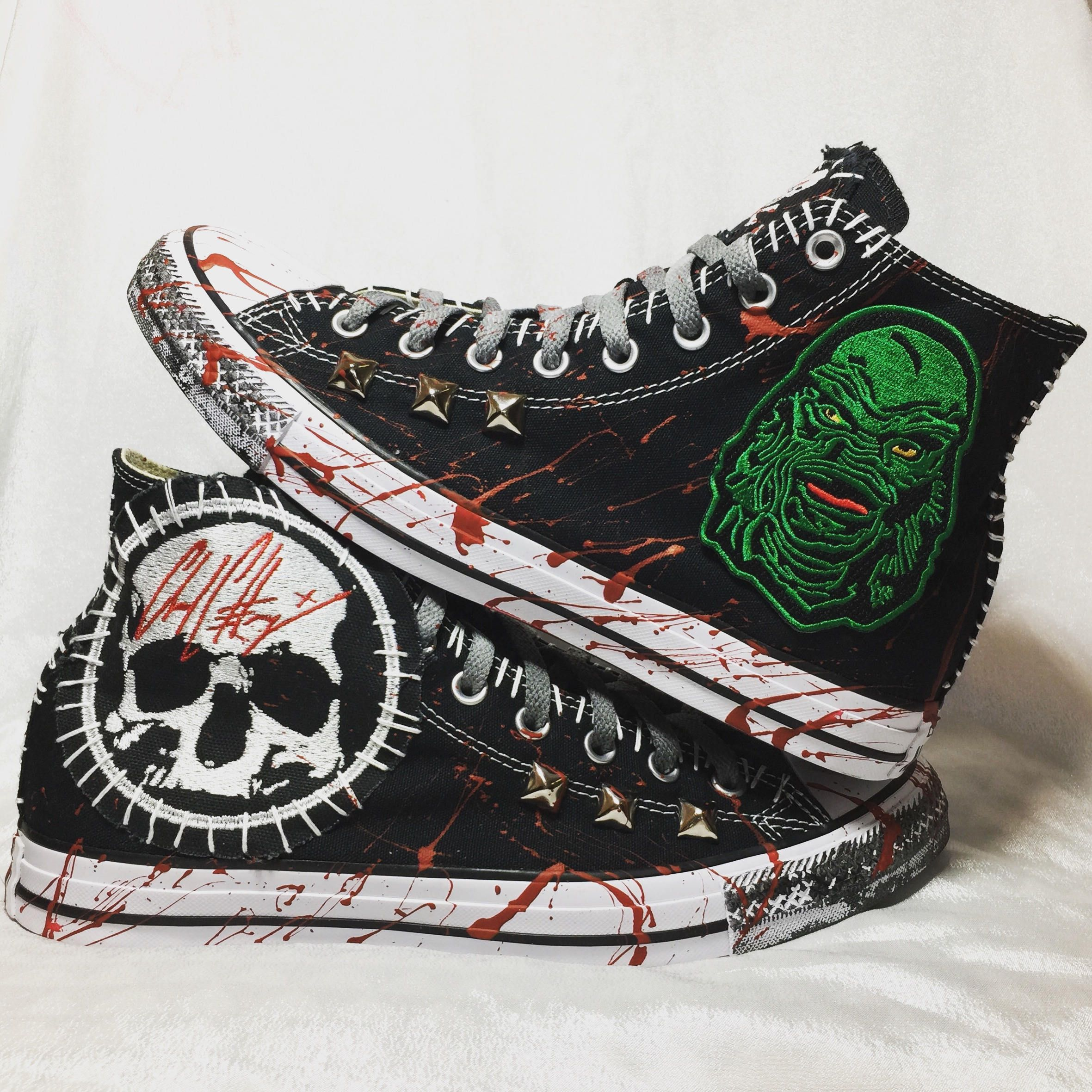9f2aeb8f3a4b Gill Man horror shoes from ChadCherryClothing. Converse All Star embroidery  shoes.