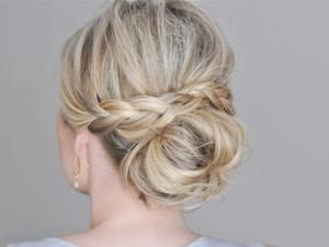 Coiffure de mariage cheveux mi long chignon