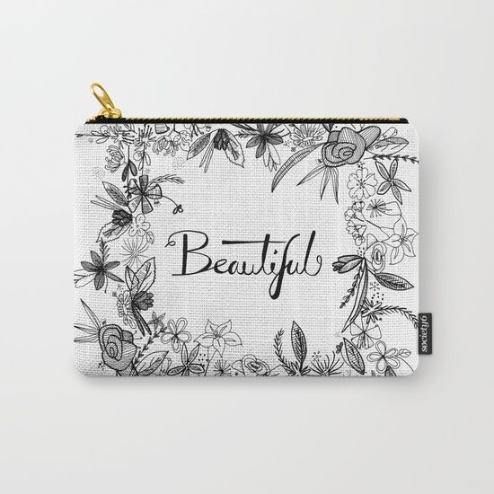 New design - pen and ink 'Beautiful' £12.00 Organize your life with our Carry-All Pouches. Available in three sizes with wraparound artwork, these pouches are perfect for toiletries, art supplies or makeup. Even an iPad fits into the large size. Features include a faux leather pulltab for easy open and close, a durable canvas-like exterior and a 50/50 poly-cotton black interior lining. Machine washable.