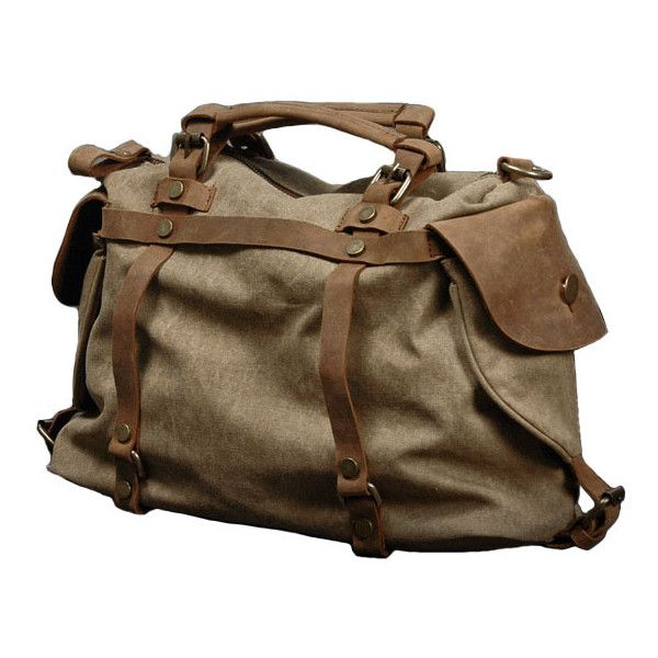 Retro Canvas & Leather Backpack with Zip Closure (€105) ❤ liked on Polyvore featuring bags, backpacks, chicnova, backpack, purses, brown canvas backpack, brown leather backpack, pocket backpack, canvas leather backpack and brown backpack