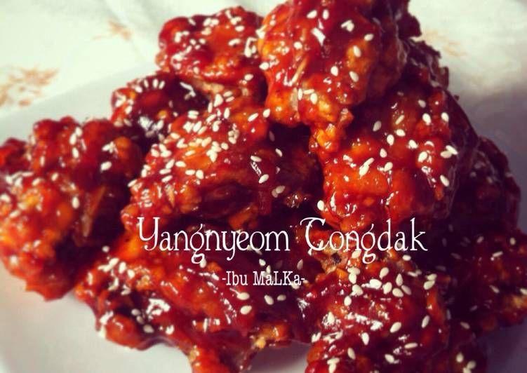 Resep Yangnyeom Tongdak Korean Spicy Fried Chicken Oleh Ibu Malka Resep Masakan Korea Resep Masakan Korea Makanan