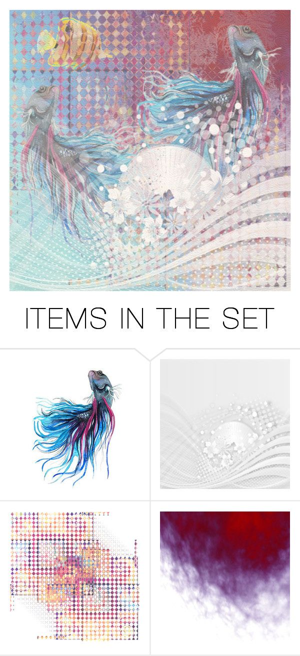 """""""Abstract with Fish... Floral"""" by maryv-1 ❤ liked on Polyvore featuring art"""