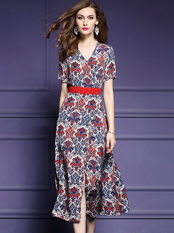 55ad1c8e73 Chic V-Neck Short Sleeve Floral Print Skater Dress from DressSure.com   dresssure  fashion  dresses  HighQuality