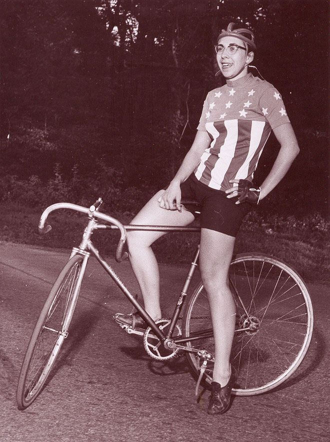 "Nancy Neiman is your normal, everyday pioneering champion. Looks like a normal, everyday woman out for a ride, eh? Well, she was a fairly normal person who happened to be the U.S. Girl's National Cycling Champion in 1953. When she won it again in 1954 she pointed out that neither she, nor the other entrants, were girls, and it should be changed to ""women's."""