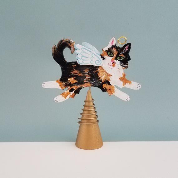 Cat Angel Christmas Tree Topper: Calico Cat Angel Figurine Tree Topper