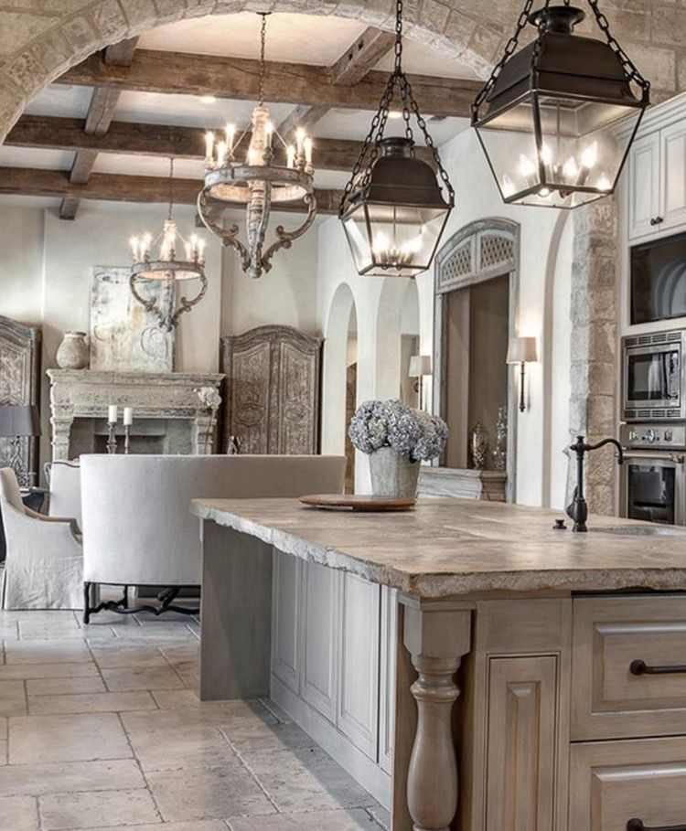 Grey Washed Natural Wood Country French Kitchen / Family