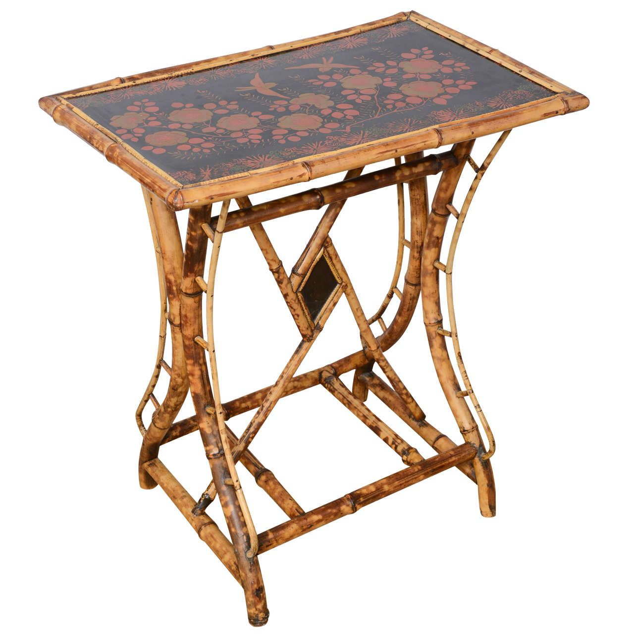 Awesome 19th Century English Bamboo Tray Top Side Table