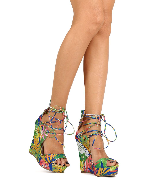New-Women-Liliana-Derby45-Floral-Fabric-Peep-Toe-Platform-Ankle-Tie-Wedge-Sandal