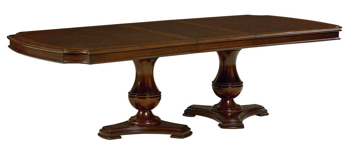 Carrington Chestnut Brown Wood Double Pedestal Dining Table