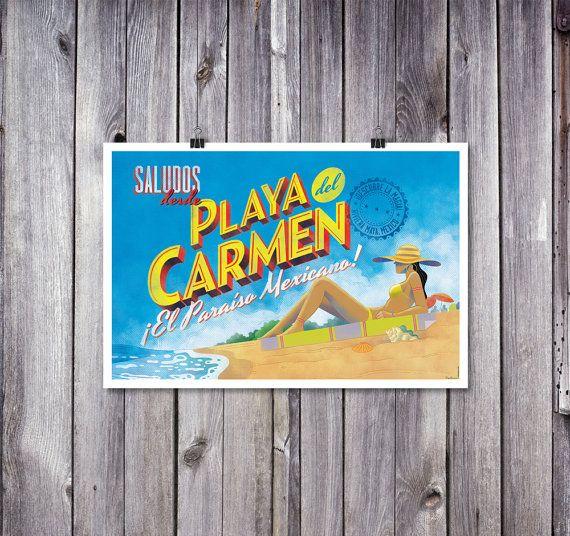 Poster 'Greetings From Playa Del Carmen' Mexico by NacionalGrafica