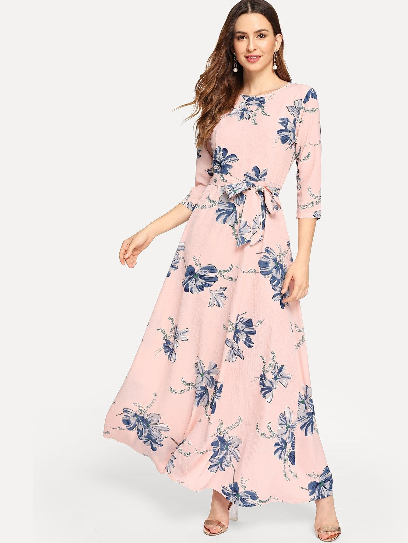 9d619a9130 Women Modest A Line Floral Sheath Trapeze Round Neck Three Quarter Length  Sleeve Natural Pink Maxi Length Floral Print Self Tie Maxi Dress with Belt