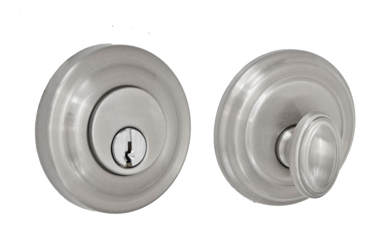 Miseno 1-AB Pasco Solid Brass Single Cylinder Deadbolt Brushed Nickel Deadbolt Keyed Entry Single Cylinder