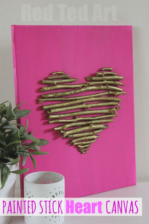 Valentine\'s Decorations: Twig Heart Canvas | Heart canvas ...