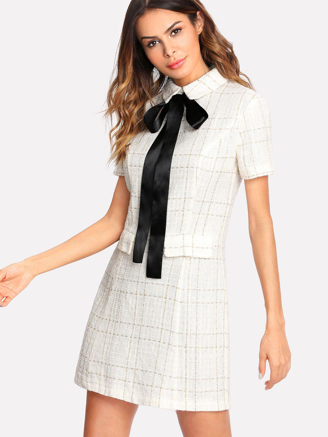 e6c14aff7d Shop Contrast Tie Neck Faux Pocket Tweed Dress online. SheIn offers Contrast  Tie Neck Faux Pocket Tweed Dress & more to fit your fashionable needs.