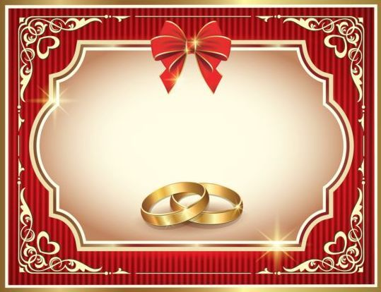 Ornate red wedding greeting cards vector 02