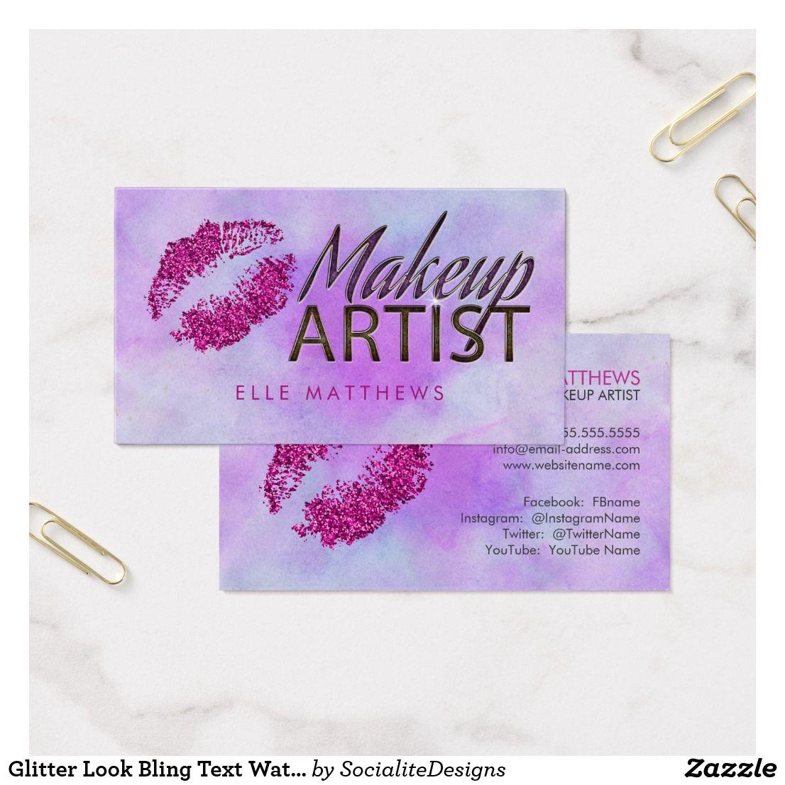 Glitter Look Bling Text Watercolor Makeup Artist Business Card ...