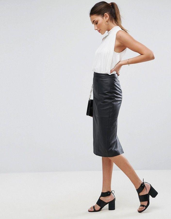 90c45e3eec DESIGN midi pencil skirt in leather | b u s i n e s s o u t f i t ...