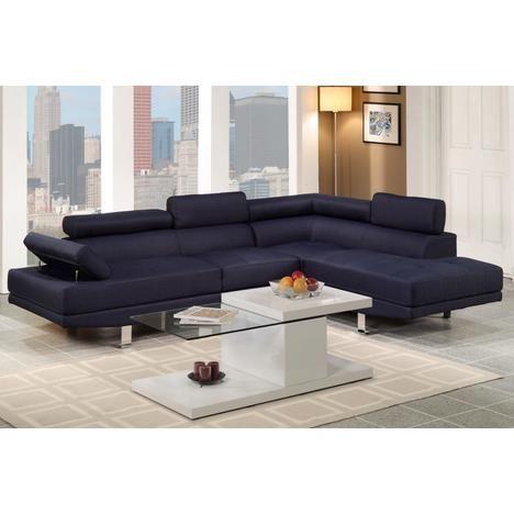 Poundex Furniture Dark Blue Blended Linen Upholstered 2 PCs Full-Length Sectional Sofa Set with Pillow Back Rest Chrome Legs