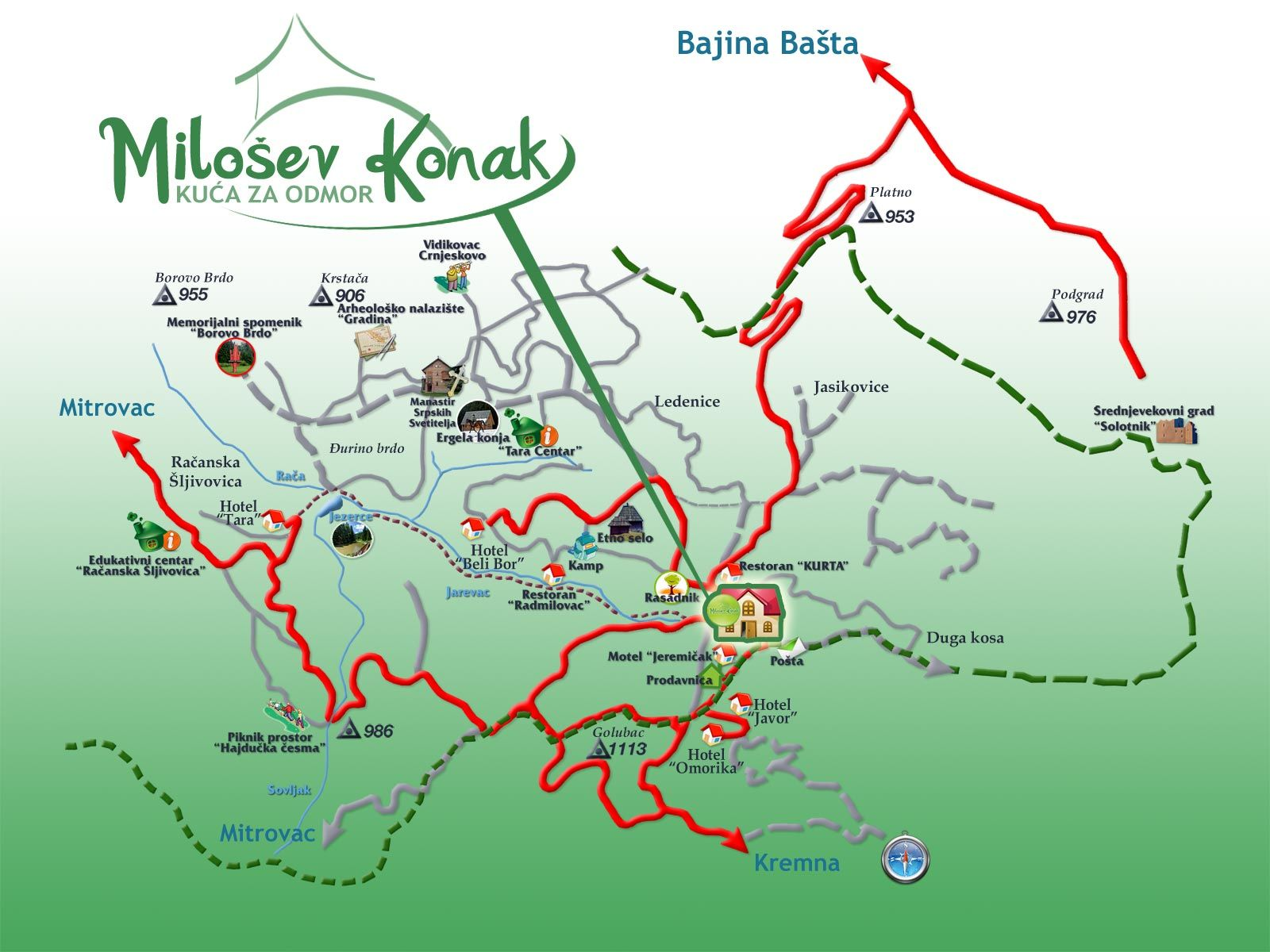 Milosev Konak Tara Odmor Na Planini Apartmani Map Map