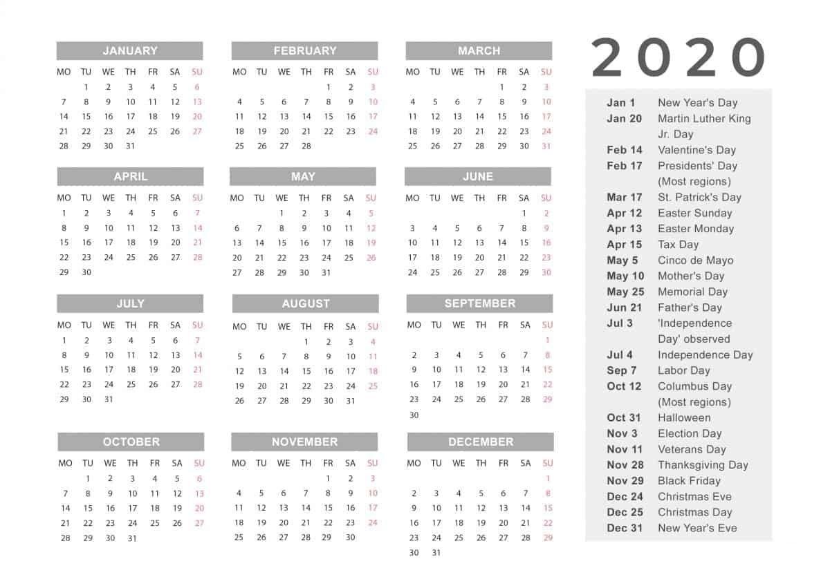 Holidays Calendar 2020 Printable Calendar Template Free