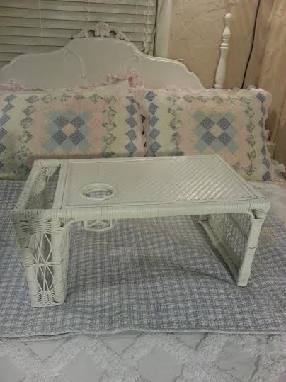Vintage White Wicker Bed Tray Breakfast Tray Vintage Bed Tray Wicker Bed Tray Shabby Chic Bed Tray Shabb Vintage Bed White Wicker Shabby Chic Bedding