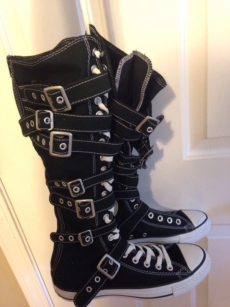 f1e102afd88d CONVERSE All Star Chuck Taylor Knee High Buckle Boots Black Mens Sz 7  Womens 9  Conversechucktaylorallstar  AthleticInspired