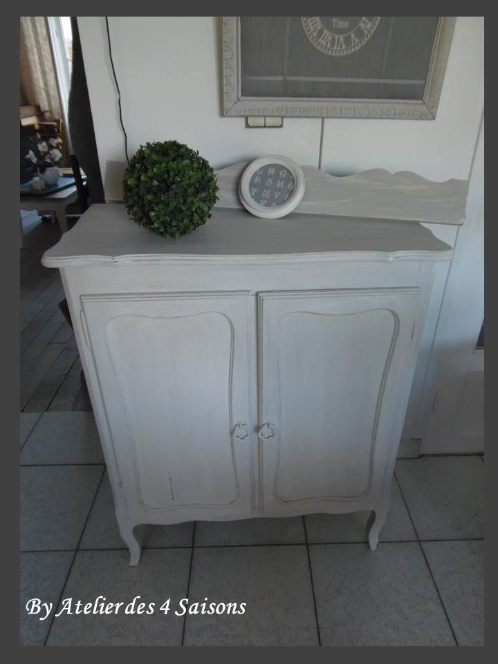 petit buffet en ch ne patin gris perle blanc poudr par l. Black Bedroom Furniture Sets. Home Design Ideas